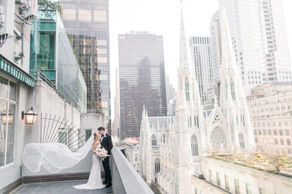 Solarium with bride and groom at 3 West Club NYC