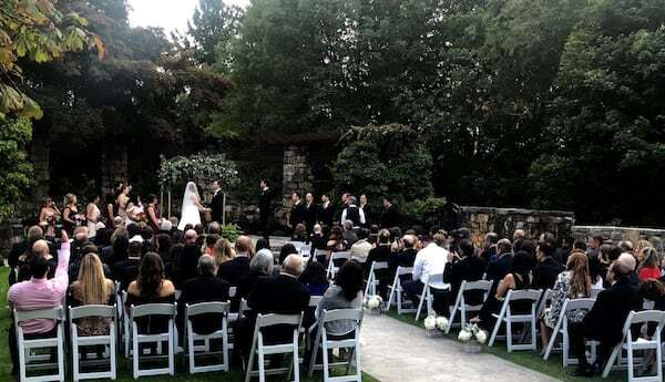 wedding ceremony at Le Chateau view from back