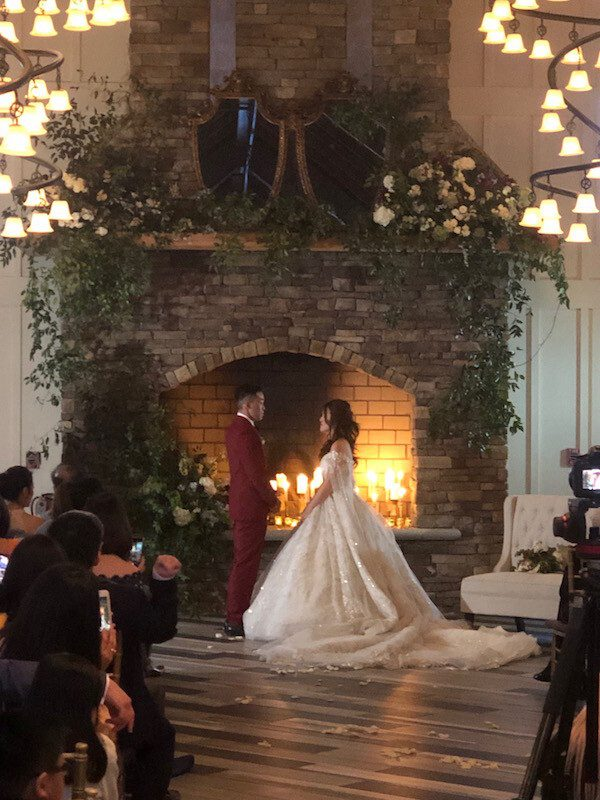 Bride and Groom about to start their first dance