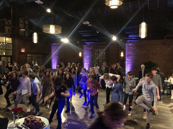 Expressway Music Dancers leading Bar Mitzvah guests on the dance floor