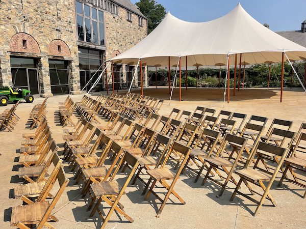 Courtyard for wedding ceremony at blue hill